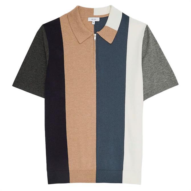 REISS STROKES Colour Block Zip Neck Polo Shirt