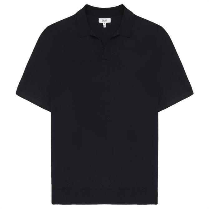 REISS DUCHIE Navy Merino Wool Open Collar Polo Shirt