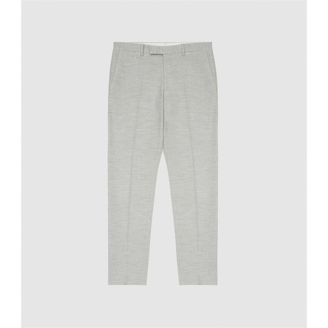 REISS EMERIL Grey Brushed Cotton Blend Tailored Trousers