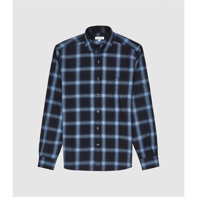 REISS STATE Navy Blue Check Shirt