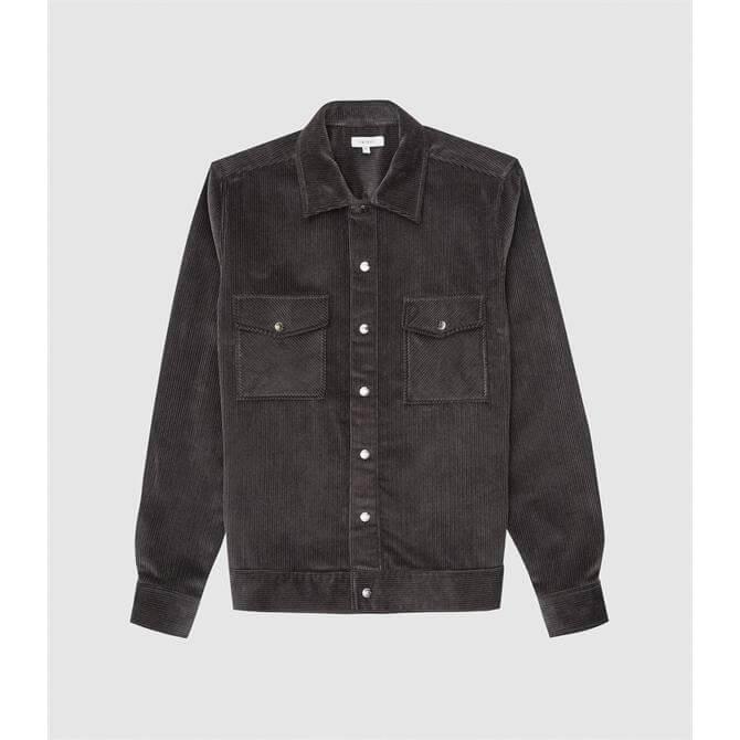 REISS MADDIS Grey Corduroy Overshirt