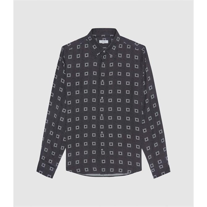 REISS PUNK Black Geo Print Shirt