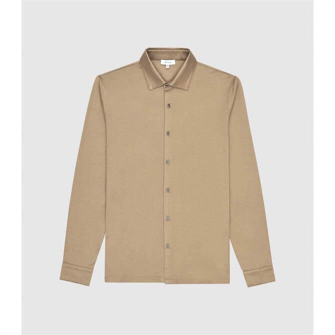 REISS HENDON Camel Mercerised Cotton Shirt
