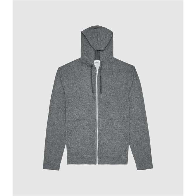 REISS GREG Dark Grey Melange Zip Through Hoodie