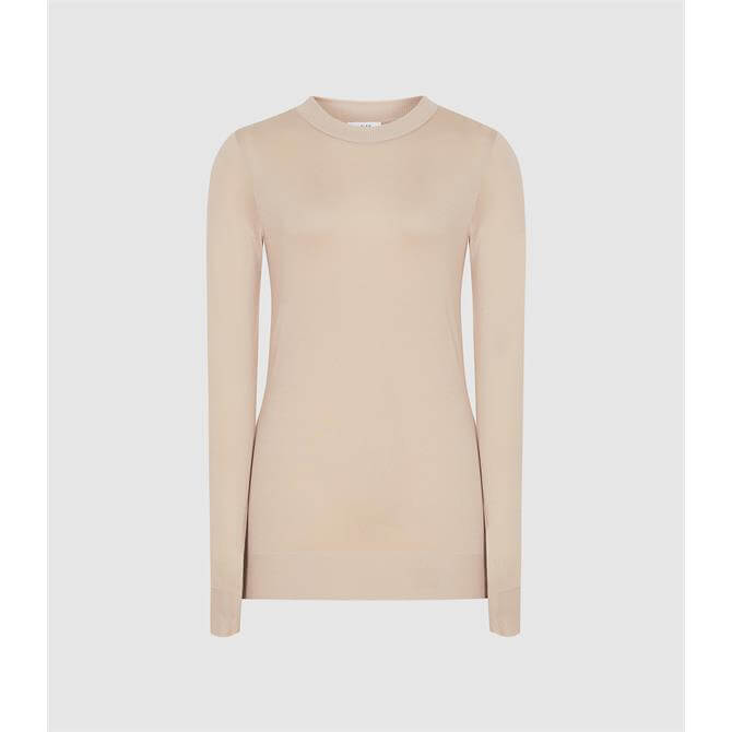 REISS AURELLIE Semi-sheer Slim-fit Top