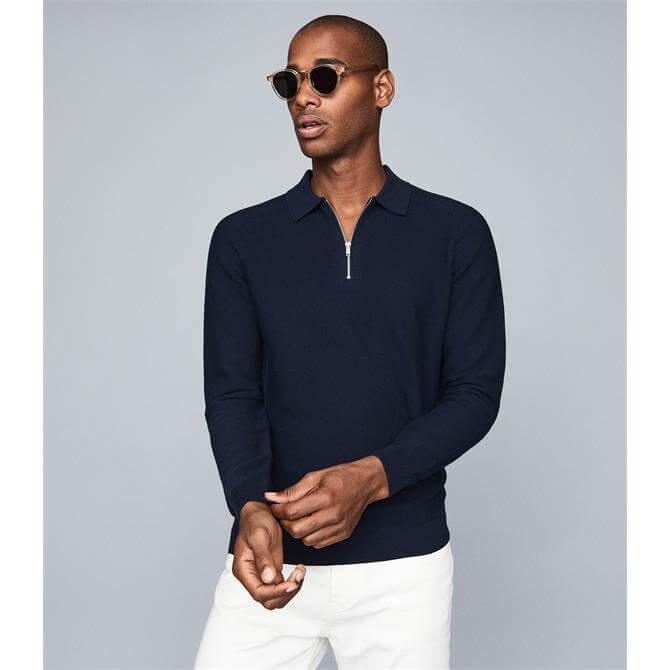 REISS ROMAN Cotton Zip Neck Polo Shirt