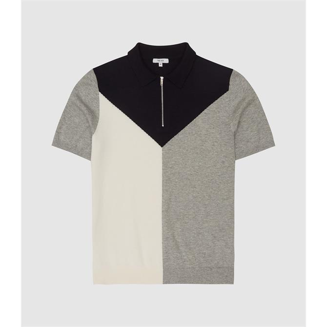 REISS BUTLER Colour Block Zip Neck Polo Shirt