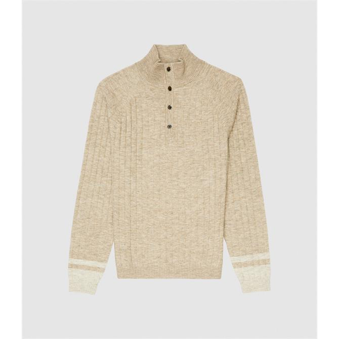 REISS AIDEN Oatmeal Ribbed Funnel Neck Jumper