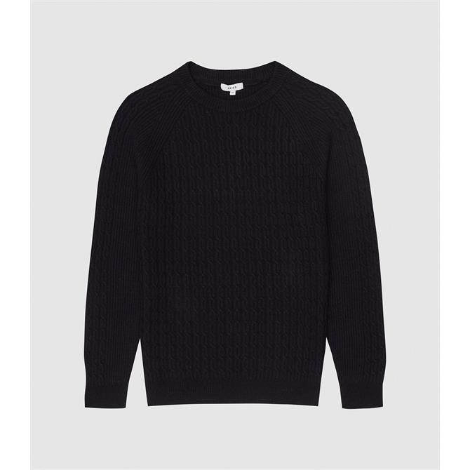 REISS RIPPER Navy Cable Knit Jumper