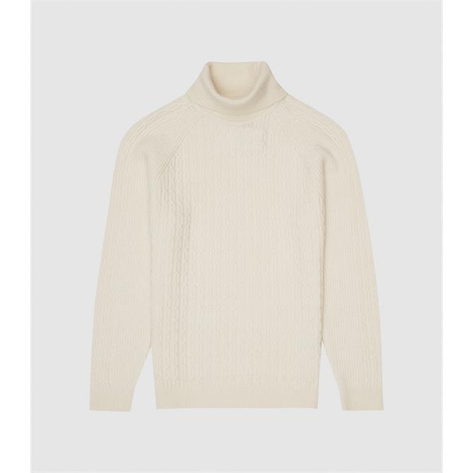 REISS PHANTOM Ecru Cable Roll Neck Jumper