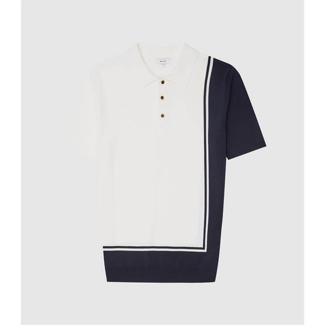 REISS RAY Ecru Colour Block Polo Shirt