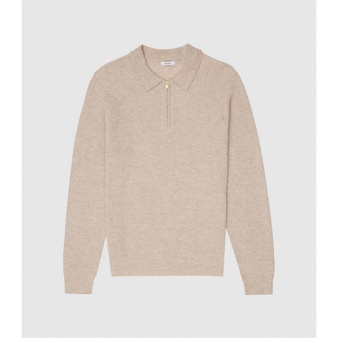 REISS ASTON Oatmeal Zip Neck Ribbed Polo Shirt