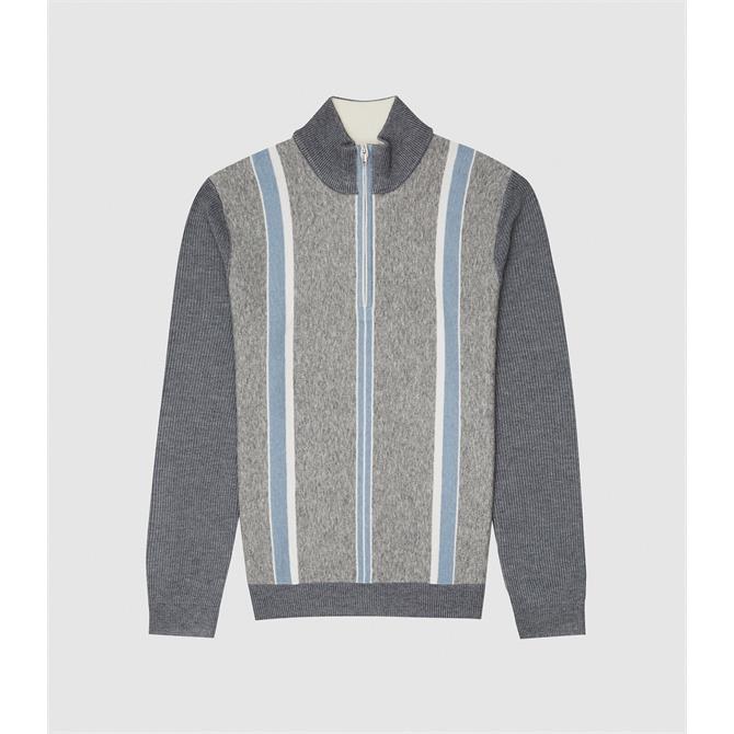 REISS MOSEL Grey Blue Zip Neck Stripe Jumper