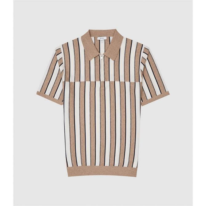 REISS OPUS Brown Striped Zip Neck Polo Shirt