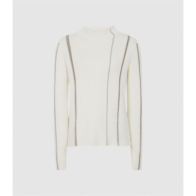 REISS Naomi White Metallic Stripe Detailed Jumper