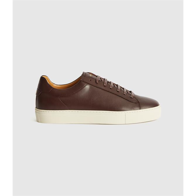 REISS Finley Brown Leather Contrast Sole Trainers