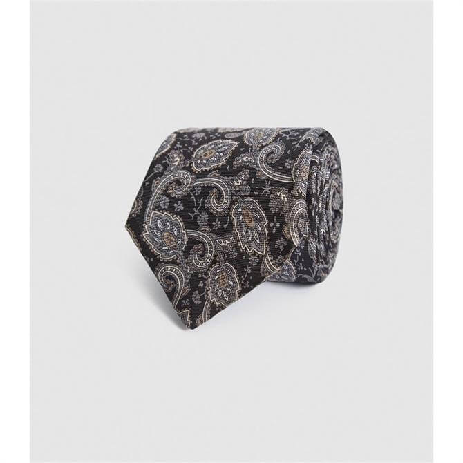 REISS TREVISO Charcoal Grey Silk Paisley Tie