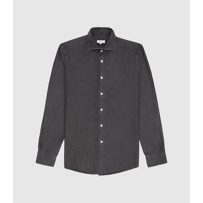 REISS KNIGHT Grey Dark Wash Denim Shirt