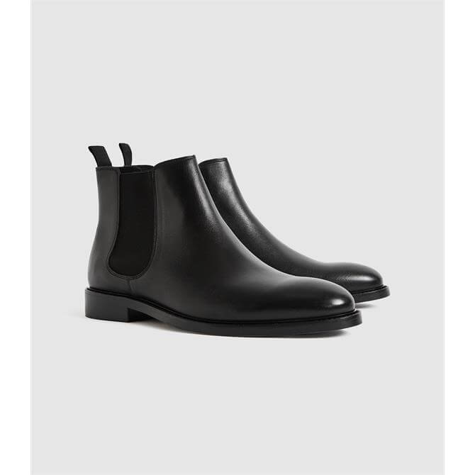 REISS TENOR Black Leather Chelsea Boots