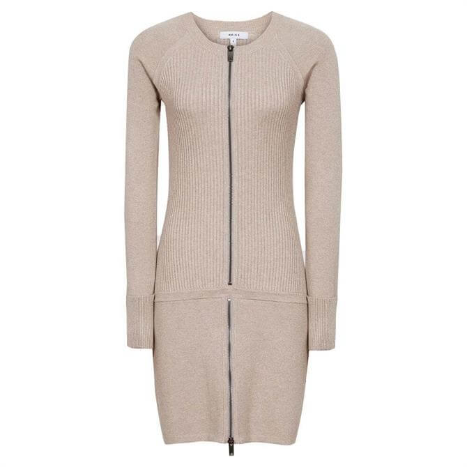 REISS ASHLEIGH Knitted Bodycon Dress With Zip Detail