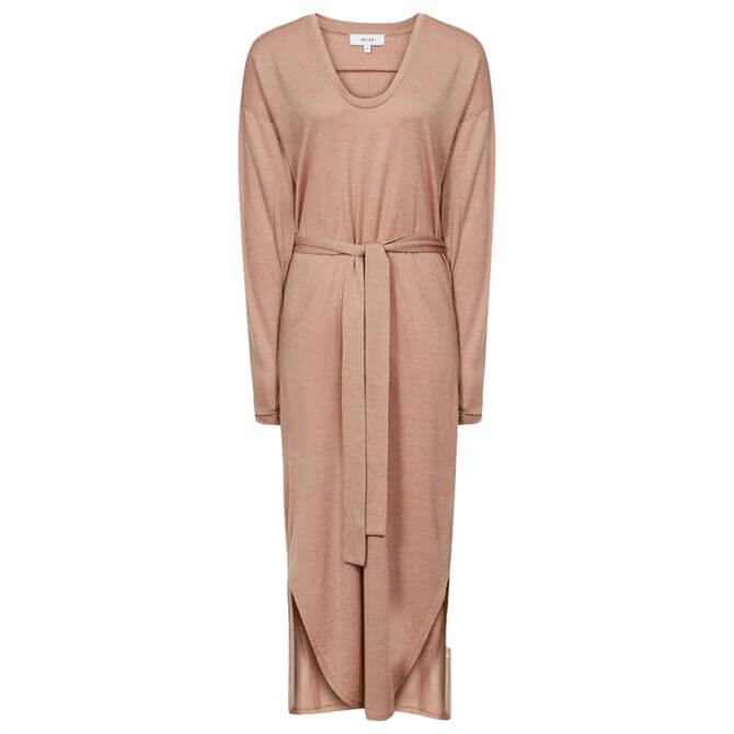 REISS CLEO Wool Blend Fine Jersey Dress