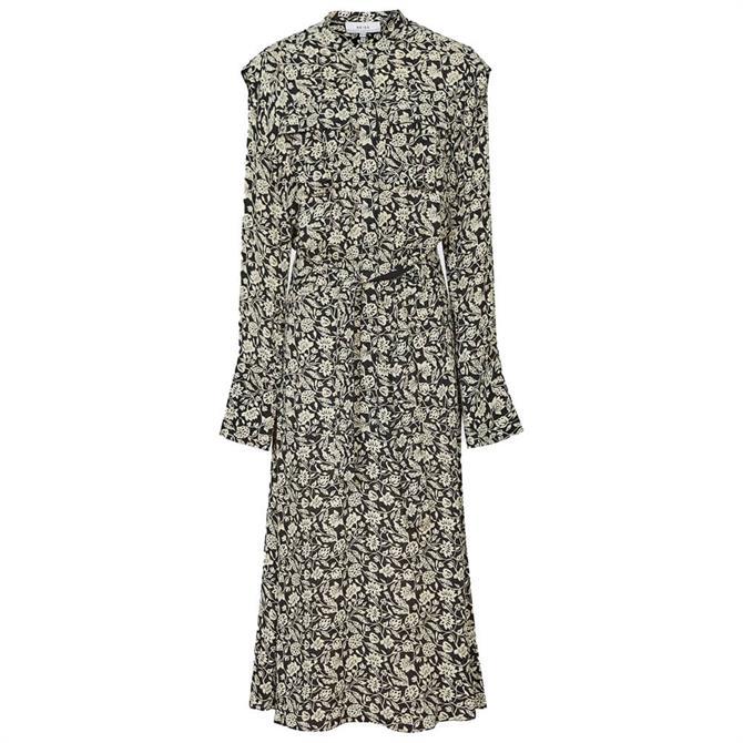 REISS MICAH Floral Printed Midi Dress