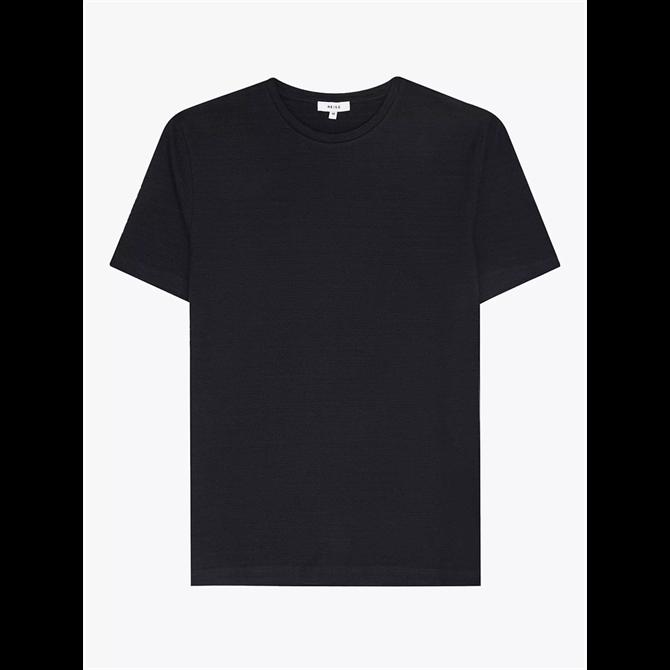 REISS GARETH Stripe Textured T-Shirt Navy