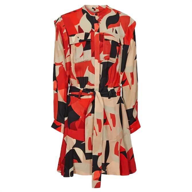 REISS THEO Printed Shirt Dress