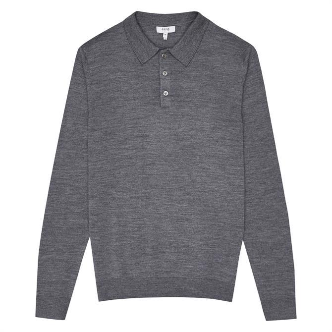 REISS TRAFFORD Merino Wool Long Sleeve Polo Shirt