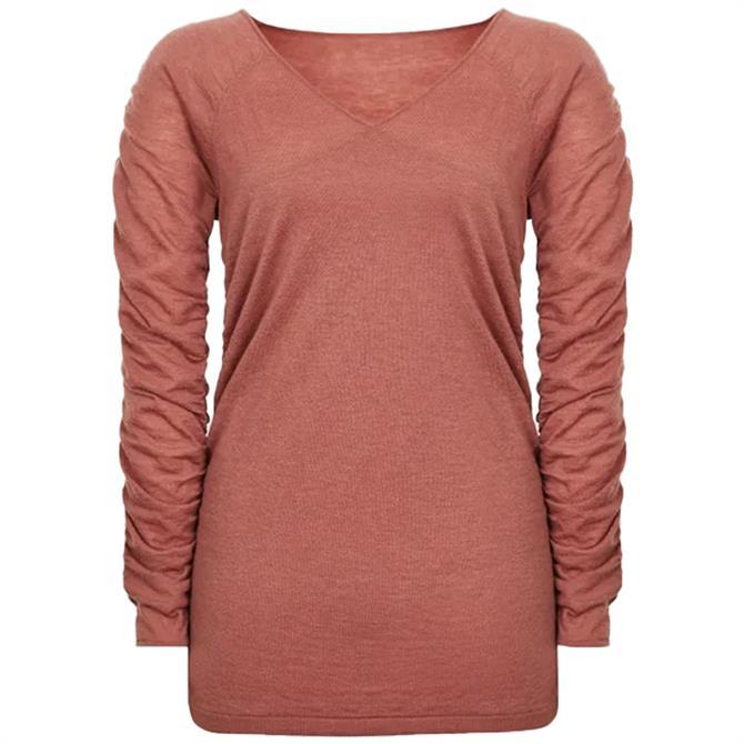 REISS VERITY Ruched Sleeve Wool Blend Top