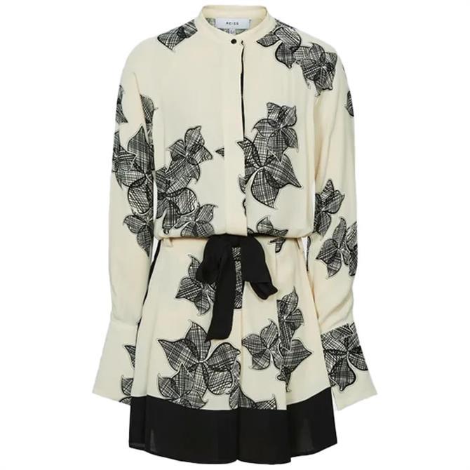 REISS VIVYIAN Floral Sketch Print Satin Dress