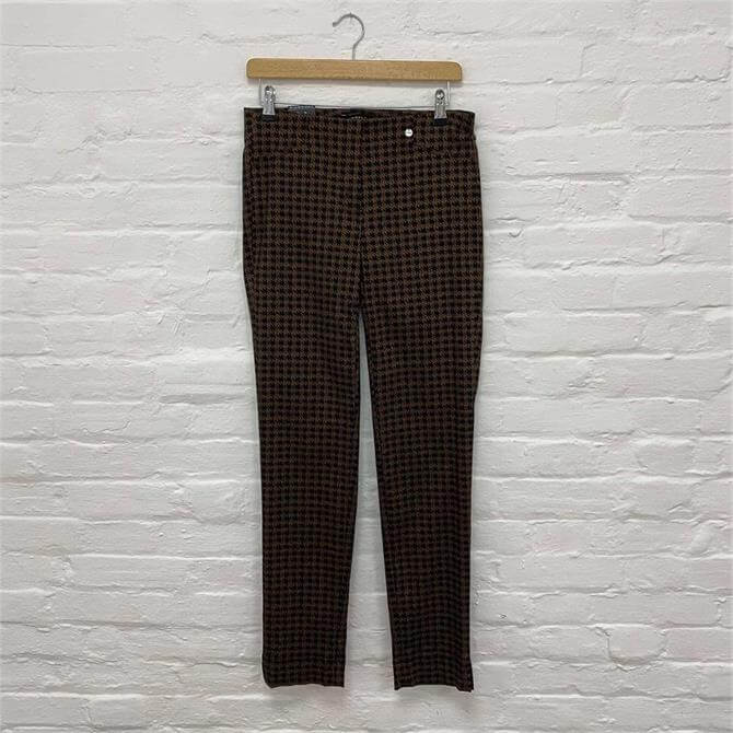 Robell Rose Checked Print 78cm Slim Fit Trousers