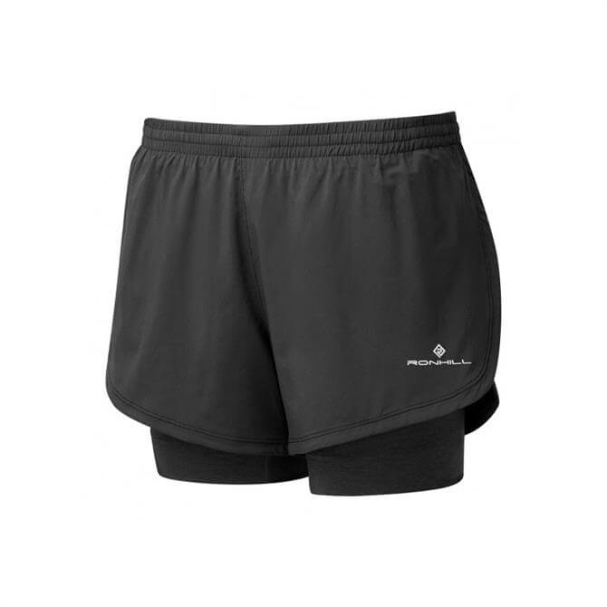 Ronhill Women's Stride Twin Short - Black/Charcoal