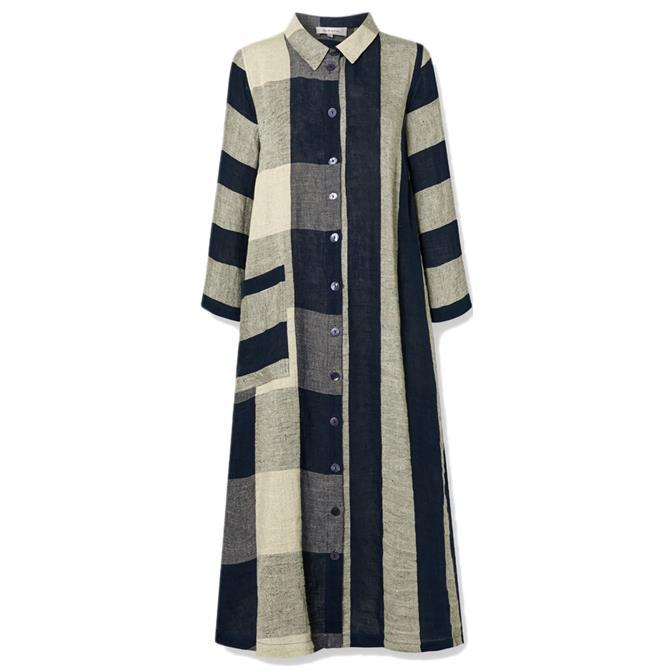 Sahara Stripe & Check Linen Dress