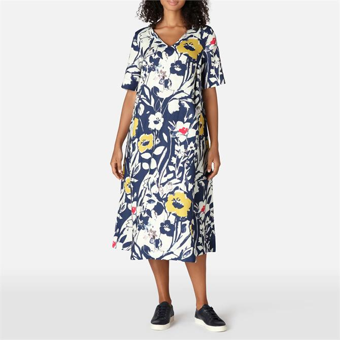 Sahara Wild Flower Print A-Line Linen Dress