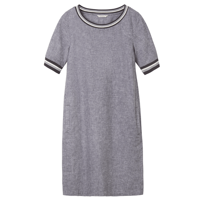 Sandwich Casual Striped Piping Detail Dress