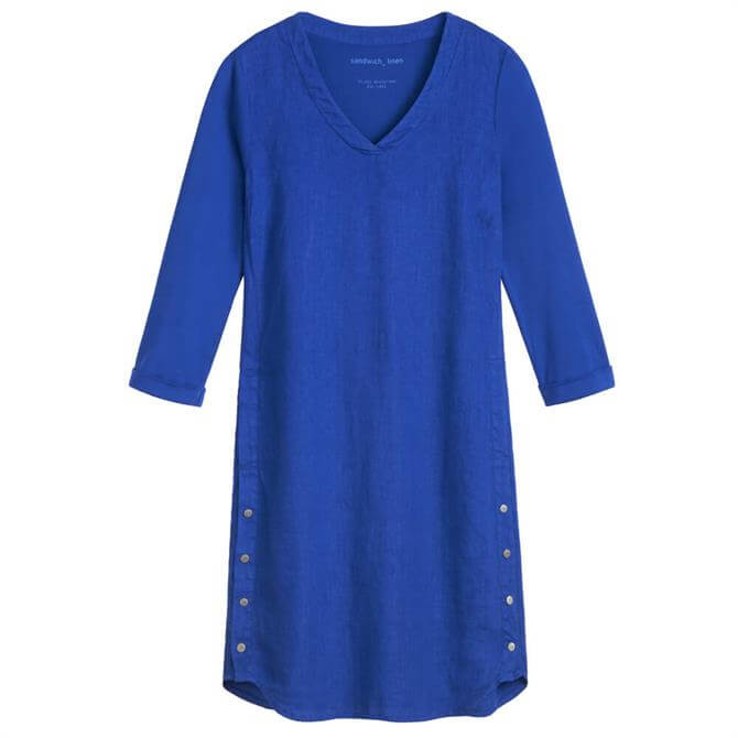 Sandwich Button Detail Admiral Blue Linen Dress