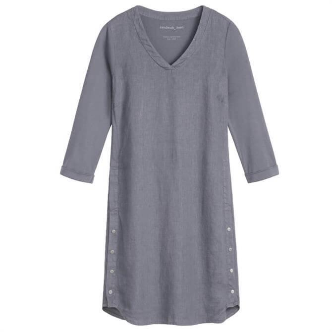 Sandwich Button Detail Linen Dress