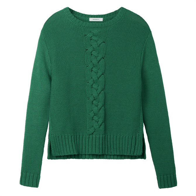 Sandwich Braided Cable Knit Sweater
