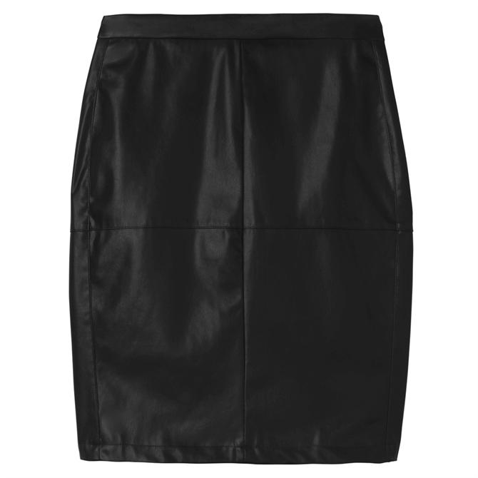 Sandwich Faux Leather Pencil Skirt
