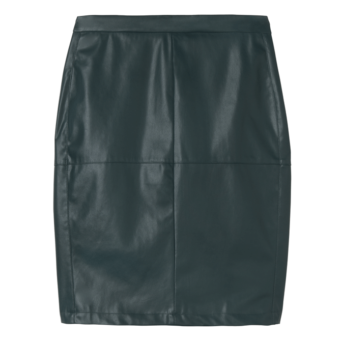 Sandwich Faux Leather Pencil Skirt