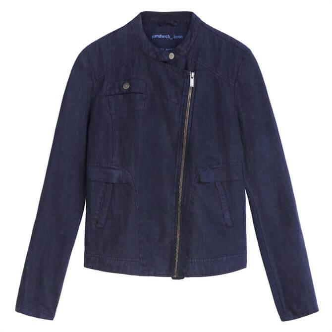 Sandwich Linen Biker Zip Front Jacket