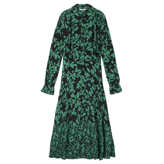 Sandwich Midi Floral Print Shirt Dress