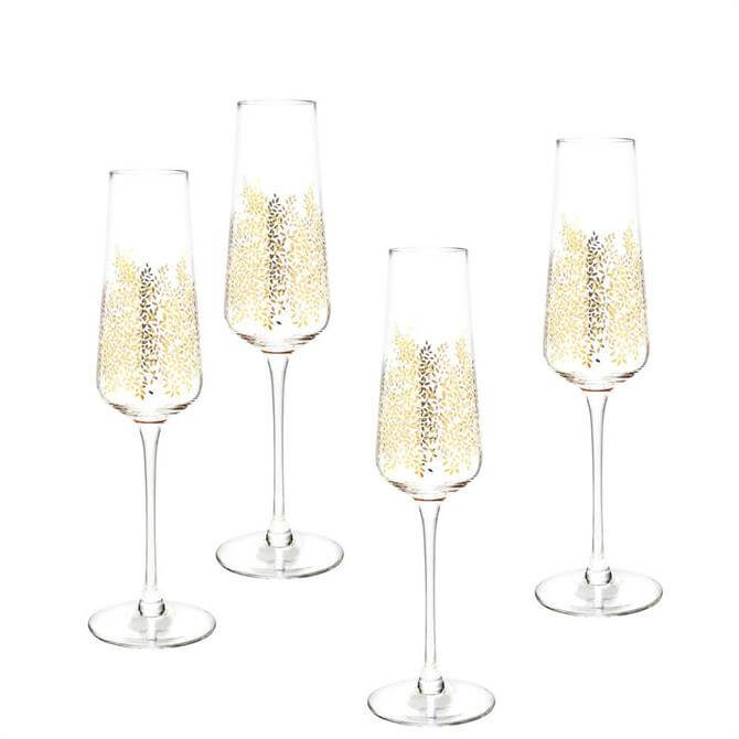 Sara Miller London Portmeirion Chelsea Gold Leaf Set of 4 Champagne Glasses