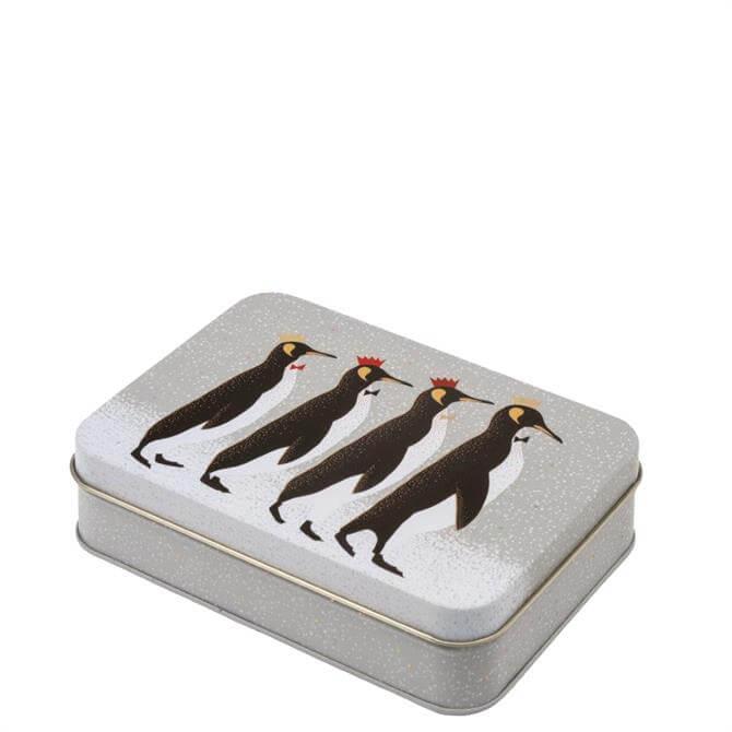 Sara Miller London Christmas Penguin Small Rectangular Tin