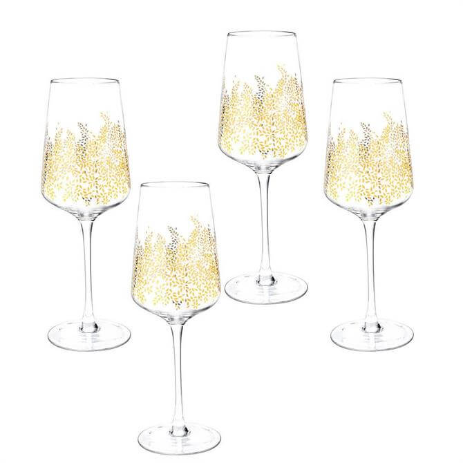 Sara Miller London Portmeirion Chelsea Gold Leaf Set of 4 Wine Glasses
