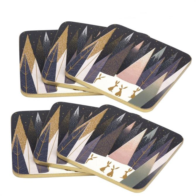Sara Miller London Portmeirion Frosted Pines Set of 6 Coasters