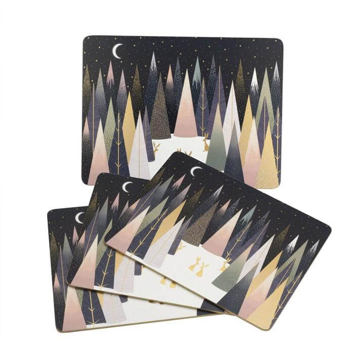 Sara Miller London Portmeirion Frosted Pines Set of 4 Placemats