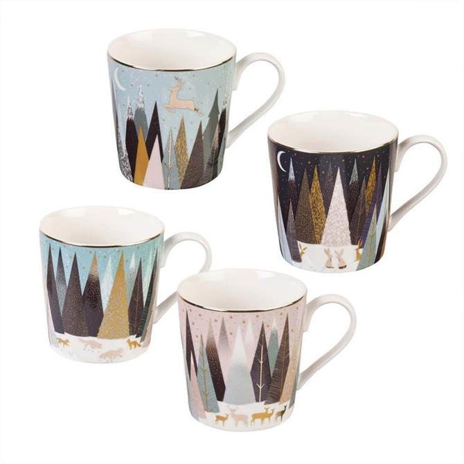 Sara Miller London Portmeirion Frosted Pines Set of 4 Mugs