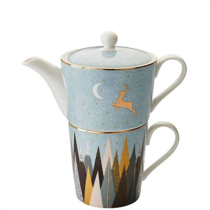 Sara Miller London Portmeirion Frosted Pines Tea for One Set